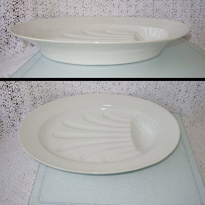 "Antique 19th Century 20"" X 13.5"" X 3"" FOOTED  OVAL CERAMIC MEAT CARVING PLATTER"