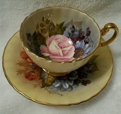 Aynsley signed JA Bailey cup & saucer rose & floral bouquet YELLOW background
