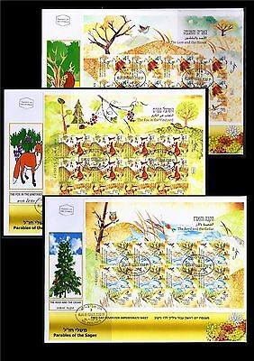 Israel 2017 Parables Of The Sages 3 Stamp Sheets Imperforate Fdc