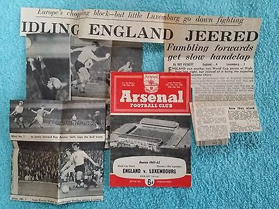 1961 - ENGLAND v LUXEMBOURG PROGRAMME - WORLD CUP QUALIFIER