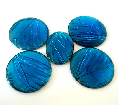 5x Vintage 'BUTTERFLY WING' CABOCHONS Electric Blue FOIL GLASS Round Oval c.1930