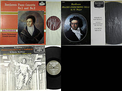 LOT 3 LPs WILHELM BACKHAUS BEETHOVEN PIANO CONCERTO 1,2,4 and 5
