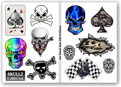 A4 Sheet Of Skull & Crossbones Skulls Set of 11 Vinyl Car Bike sticker Decals