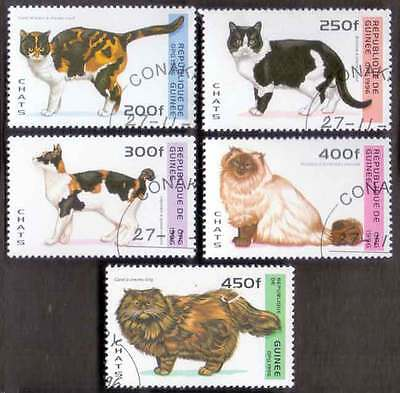 GUINEA (12/1) 1996 Domestic Cats Animals Used 5 diff. Stamps ! Gift Children !