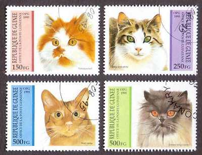 GUINEA (04/1) 1995 Domestic Cats Used 4 diff. Stamps ! Gift Your Children !
