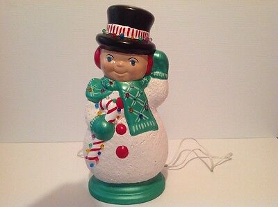 Vintage Ceramic Frosty Snowman lighted Christmas Lamp