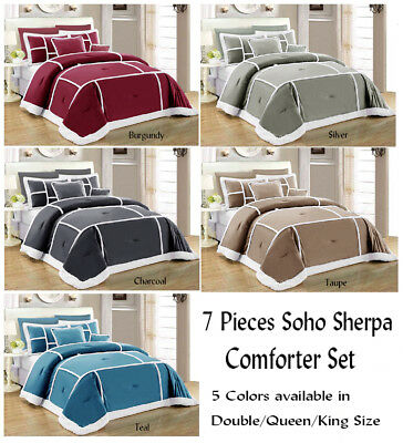 7 Pieces Soho Sherpa Comforter Set Quilt Coverlet Double Queen King Size Bed