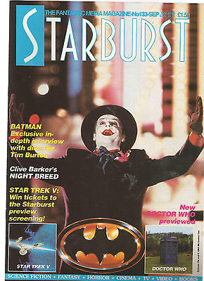 STARBURST MAGAZINE SEP 1989 No 133 JACK NICHOLSON - BATMAN - STAR TREK -