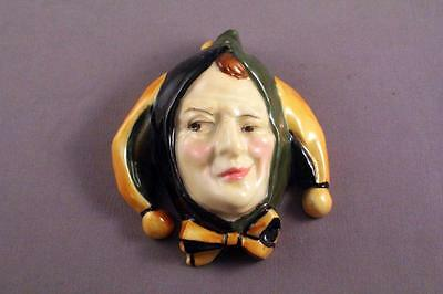 """Very Rare Royal Doulton Hn 1611 Jester (Crooked Smile) Wall Mask 3"""" - Perfect"""