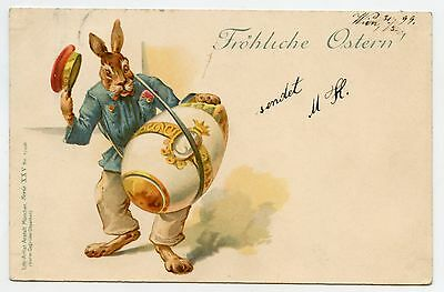 Superbe lapin humanisé . L'Oeuf Tambour . PAQUES. EASTER. Dressed RABBIT. EGG