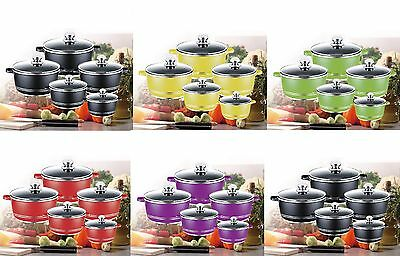 Die-Cast Casserole Aluminium  Set 10Piece Cooking Pot Induction Ceramic Coated