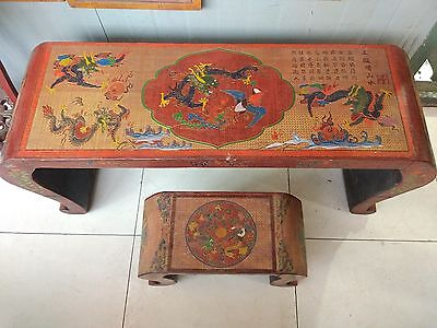 """20"""" China old wood lacquerware dragon phoenix Guqin zheng table and stool Statue"""