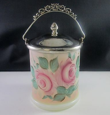 Antique Early 1900's WM ROGERS Hand Painted Milk Glass BISCUIT Barrel Jar Silver