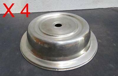 """LOT Of 4 - 10.25"""" Stainless Steel Plate Food Cover catering serving metal"""