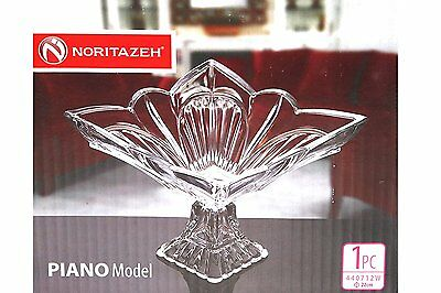 Clear Glass SQUARE Footed Fruits BowlDish Centerpiece Candy Compote PIANO Trifle