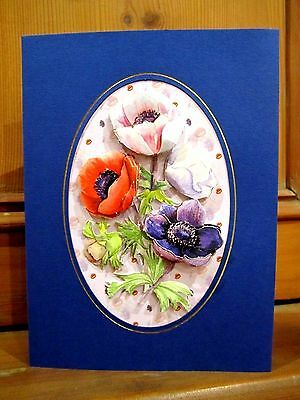 Personalise Handmade Card Birthday Thank You Mother's Day Anemonies 3D Decoupage