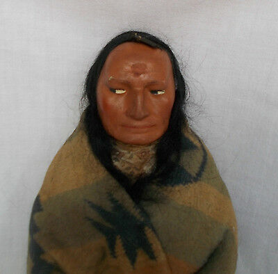 """SKOOKUM NATIVE AMERICAN INDIAN MALE DOLL 1918-24  14"""" HIGH MARY McABOY"""