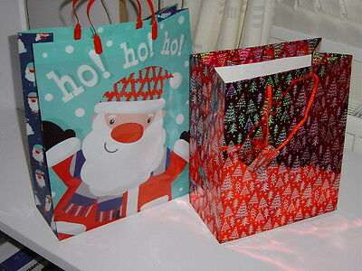 3 XMAS bags,2x rope handled Gift Bags M/XS-&1 x large plastic carrier bag