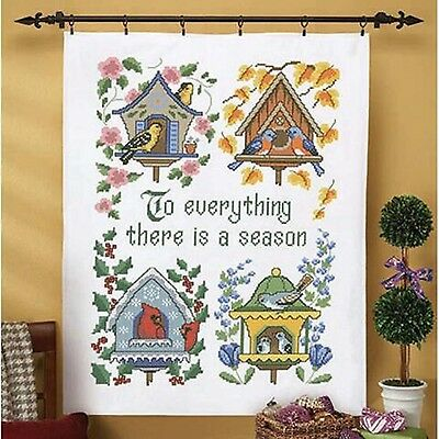 NIP Herrschners 'Seasons' Lap Quilt Top Stamped for Cross Stitch Kit 34 X 43
