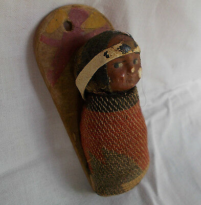 """Skookum Native American Indian  Papoose Baby Doll 4"""" 1918-24"""