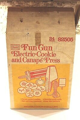 Vintage Sears Fun Gun Electric Cookie and Canape Press 82505 Complete Set in Box