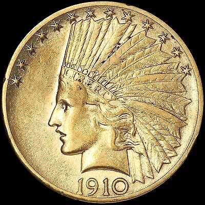 1910-D $10 Gold Indian Eagle - Free Shipping in U.S.A.