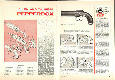 1965 2 Page Print Article of Allen & Thurber Pepperbox Parts List & Disassembly