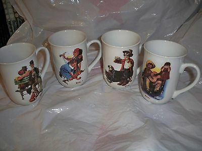 """Norman Rockwell Collectible Mugs-4 Cups """"1982"""""""