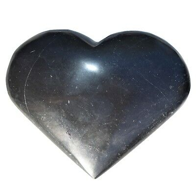 [1] LG Black Onyx Crystal Puffy Heart / Palm Stone Reiki ZENERGY GEMS™