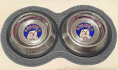 Double Pet Bowl Dog Cat Twin Dish Stainless Steel Water Food with Feeding mat