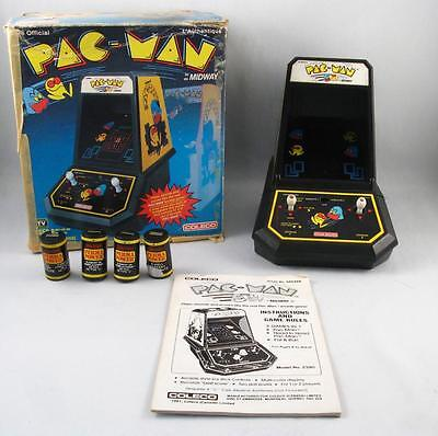 Vintage 1981 Pac-Man Tabletop Arcade Game Coleco Midway W/ Box & Paper  Works