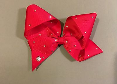 """Large Ruby Red Hair Bow. Approx 7"""" Inches. Free JoJo Sticker Included!"""