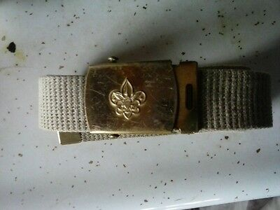 Vintage Solid Brass Buckle Belt BSA (Boy Scouts of America) Uniform 32""