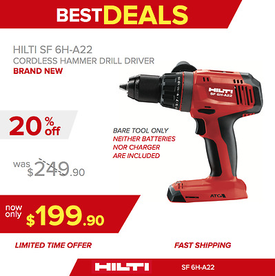 Hilti Sf 6H-A22 Cordless Hammer Drill Driver, Bare Tool, New Model, Fast Ship