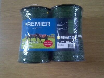 2 ROLLS Electric fencing tape in green 40 mm x 200m  (400m total length)