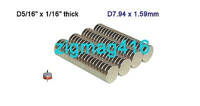 "50 pcs of Grade N52, D5/16"" x 1/16"" thick Rare Earth Neodymium Disc Magnets"