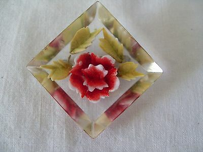Pretty Reverse Carved Pinky Red Rose Flower Perspex/clear Plastic Brooch,40S/50S