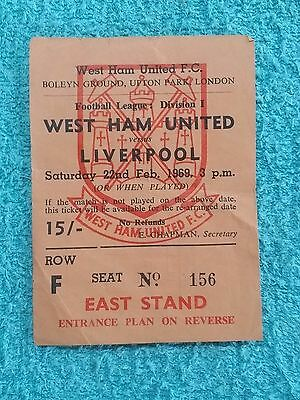 1969 - WEST HAM v LIVERPOOL ORIGINAL MATCH TICKET - FIRST DIVISION