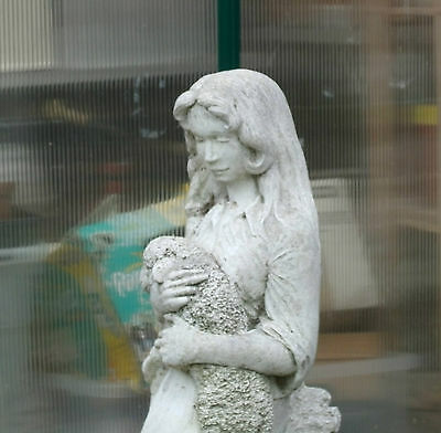 Lady Holding A Lamb Cast Stone Large Statue Garden Ornament Very Well Made