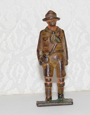 Antique Grey Iron Cast Iron Toy Boy Scout With Canteen Figure 1920s-30s