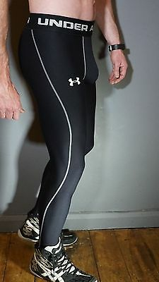UNDER ARMOUR UA ColdGear Mesh Groin Box Cup Pocket Training Muscle Tights Black