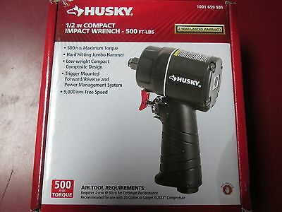 """New Husky 1001 659 931 1/2"""" Compact Impact Wrench 500 Ft Lbs"""