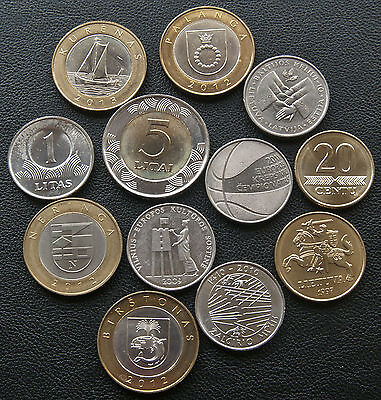 LOT modern Lithuania Republic 1990- 2015 coins, all UNC, some Rare !!!