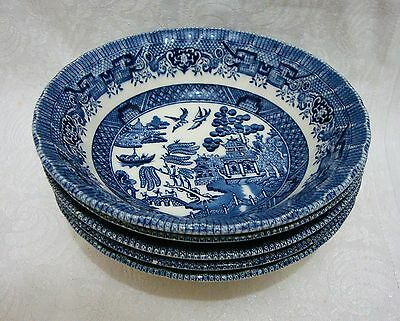 x5 Churchill Willow Pattern Cereal Bowls - Ribbed & Wavy Rim