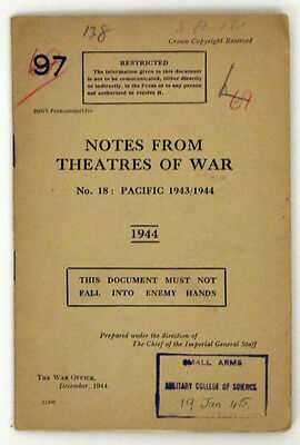 Notes From Theatres Of War. Pacific 1943/1944. Original Wwii Document And Map.