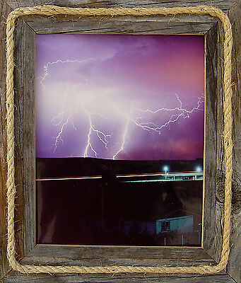 5x7 ANTIQUE, BARN-WOOD, PICTURE FRAME W/ ROPE