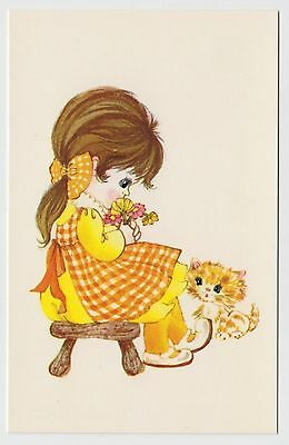 "POSTCARD - cute girl in gingham dress, kitten cat, Bamforth ""Kute"" Series #G619"
