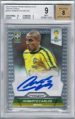 2014 Panini Prizm World Cup Signatures #S-RC Roberto Carlos (Brazil) BGS 9 Mint