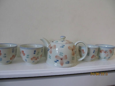japanese tea set 4 cups and 1 small teapot