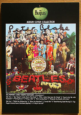 """PETER BLAKE signed card - BEATLES promo card 6x4"""" SGT PEPPER - Genuine Autograph"""